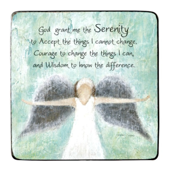 "3.5"" Metal Plaque by Caroline Simas Serenity Prayer with Angel -  Cathedral Art"