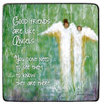"3.5"" Metal Plaque by Caroline Simas ""Good Friends are Like Angels...""  Cathedral Art"