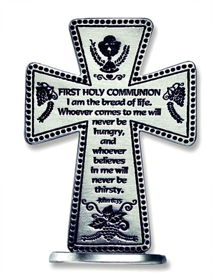 First Communion 3 Inch Standing Metal Cross SQP101 Cathedral Art