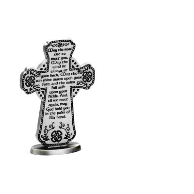 "Irish Blessing 3"" Standing Metal Cross by Cathedral Art"