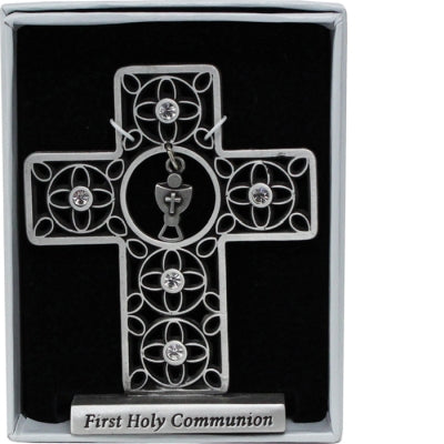 First Communion 3 Inch Standing Metal Cross with Chalice Charm SQP314