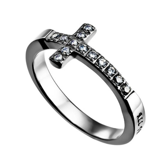 "Sideway Cubic Zirconia Cross Ring ""Christ is My Strength"" By Spirit & Truth"