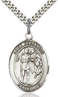 Sterling Silver St. Sebastian Patron Oval Medal Pendant Necklace by Bliss Patron of Athletes