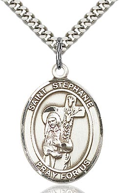 Sterling Silver St. Stephanie Oval Patron Medal Pendant Necklace by Bliss