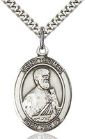Sterling Silver St. Thomas the Apostle Oval Medal Pendant Necklace by Bliss