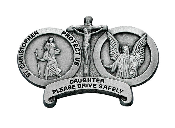Daughter Drive Carefully St. Christopher & Guardian Angel Auto Visor Clip - Made in USA