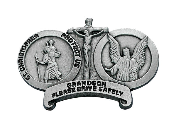 Grandson Drive Carefully St. Christopher & Guardian Angel Auto Visor Clip - Made in USA