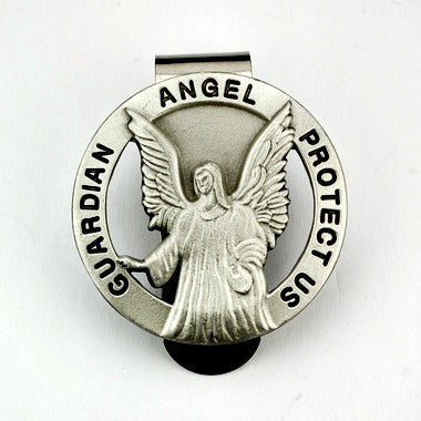 Guardian Angel Protect Us Round Auto Visor Clip - Made in USA