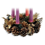 "Pine Cone Advent Wreath with Gold Accents - 9"" Diameter"