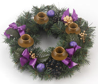 Evergreen Advent Wreath with Purple Ribbon Accents