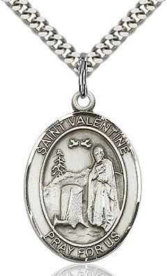 Sterling Silver St. Valentine Oval Medal Pendant Necklace by Bliss