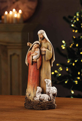"Holy Family with Lambs 12"" Figure - Avalon Gallery Nativity"