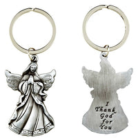"Metal Guardian Angel Key Ring ""I Thank God for You"""