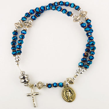 "7.5"" Blue Magnetic Rosary Bracelet with Miraculous Medal Charm"