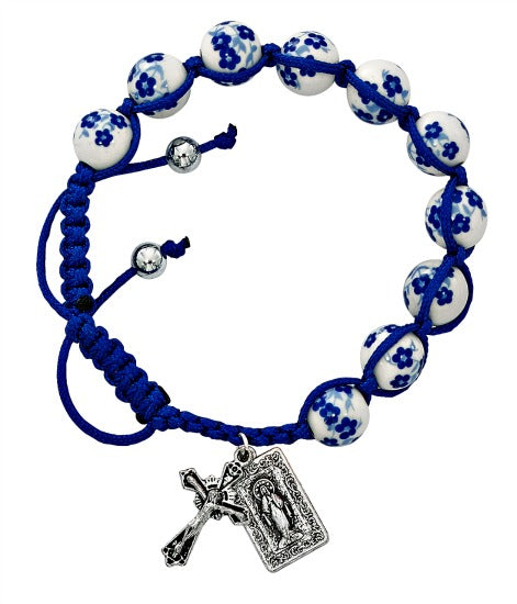 Miraculous Medal Blue Floral Ceramic Beaded Corded Bracelet Adjustable BR902C