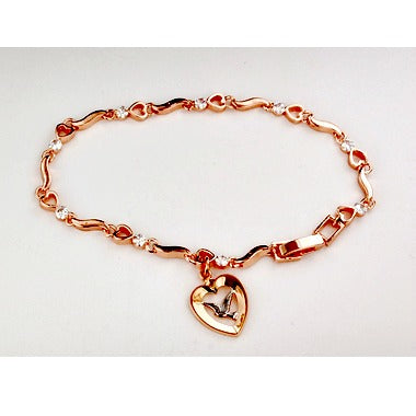 "7.5"" Cyrstal Stone Bracelet with Rose Gold Holy Spirit Dove in Heart Charm - Confirmation Gift!"
