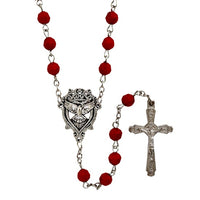 6mm Red Bead Holy Spirit Rosary Confirmation Gift Autom D1131