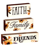Fall Themed 3Pc Wood Block Sign - Faith Family Friends OR Begin with Gratitude