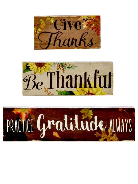 Be Thankful 3Pc Wood Block Sign Thanksgiving Fall Theme Ganz ER52544