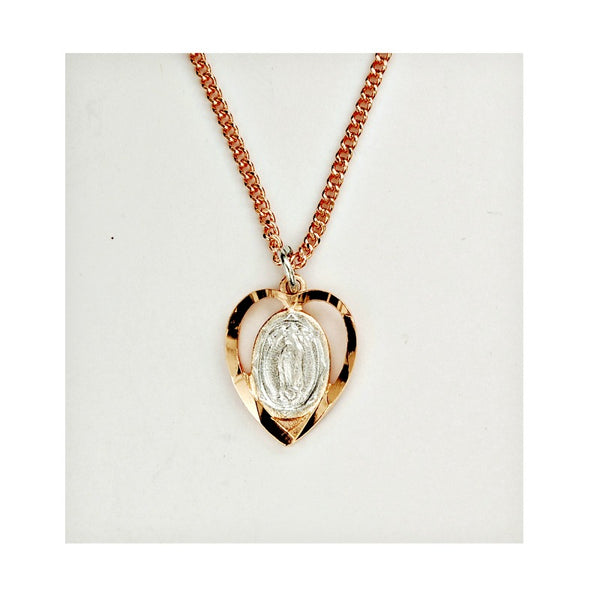 2-Tone Our Lady of Guadalupe in Heart Pendant Necklace - Rose Gold & Pewter