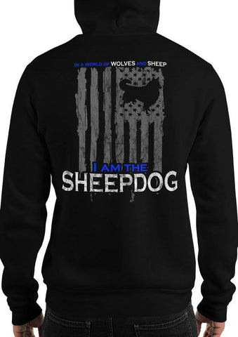 Patriotic Sheepdog, Wolves, and Sheep American Flag Hoodie / Sweatshirt