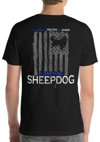 Patriotic Sheepdog, Wolves, and Sheep American Flag T-Shirt