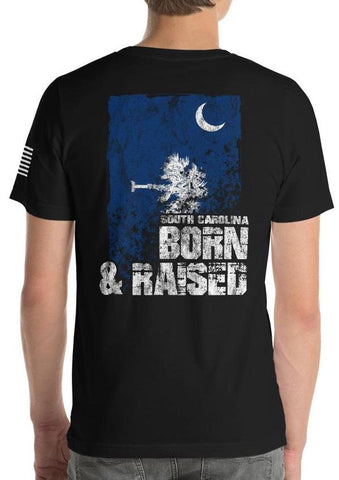 South Carolina Born And Raised Flag T-Shirt