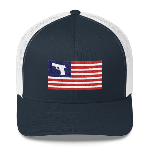 2nd Amendment American Flag Gun Hat / Mesh Back / Snap Back