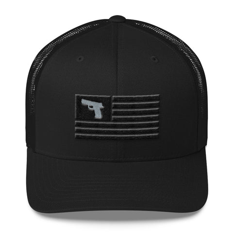 Tactical Blackout 2nd Amendment American Flag Gun Hat / Mesh Back / Snap Back