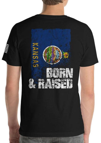 Kansas Born And Raised Flag T-Shirt