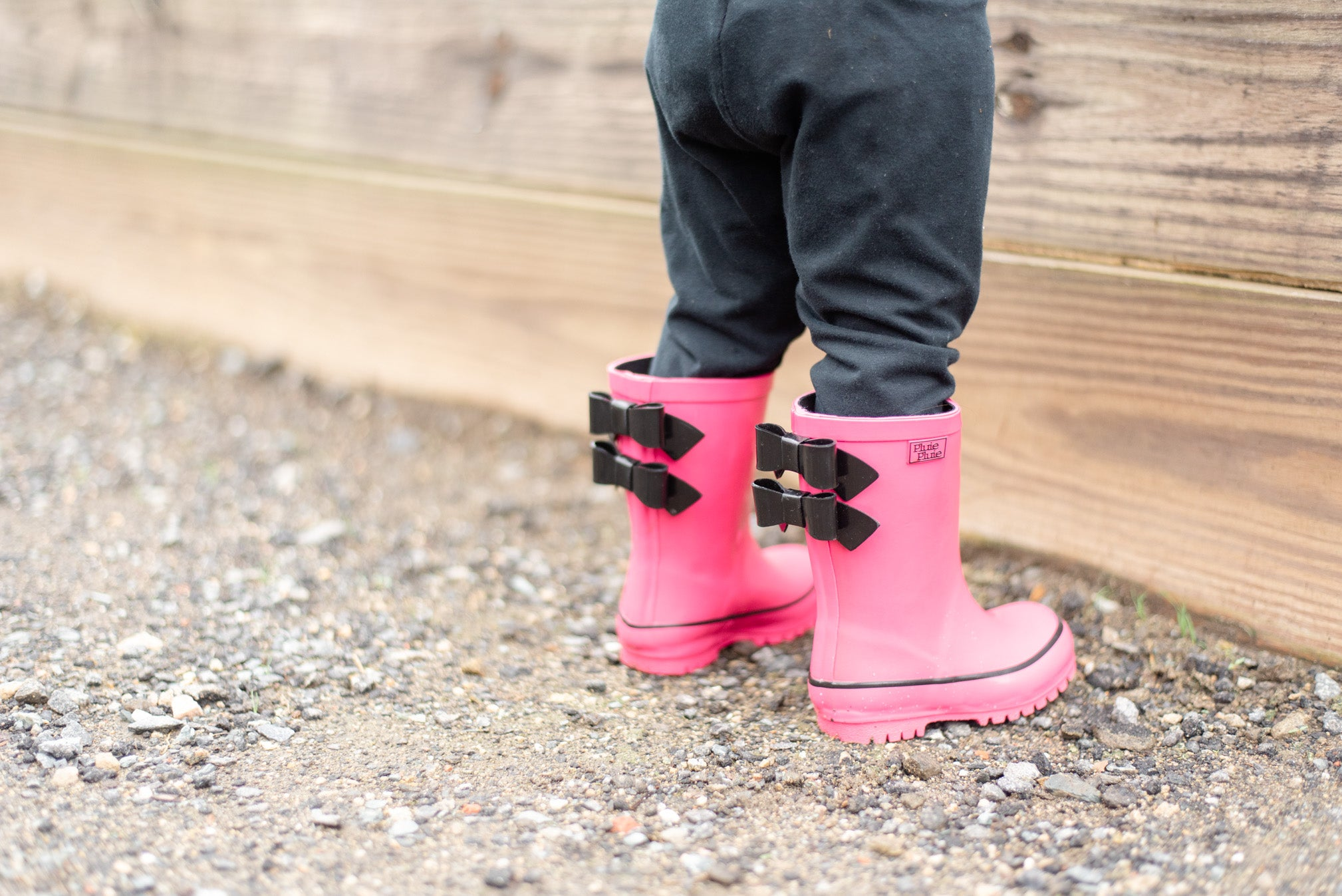 Solid Fuchsia Double Bow Rain Boot