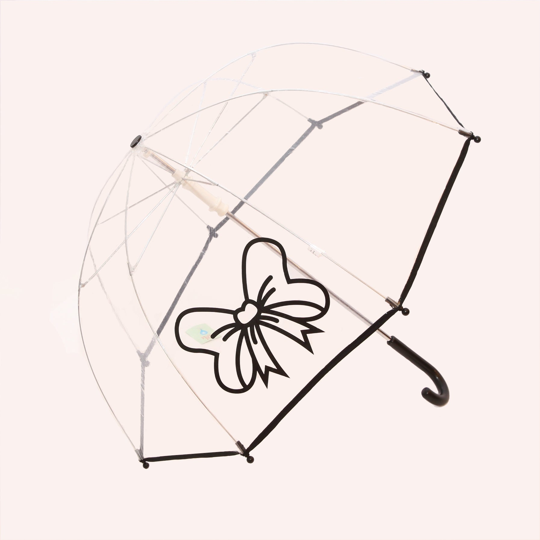 Pluie Pluie Girls Clear Umbrella with Black Bow