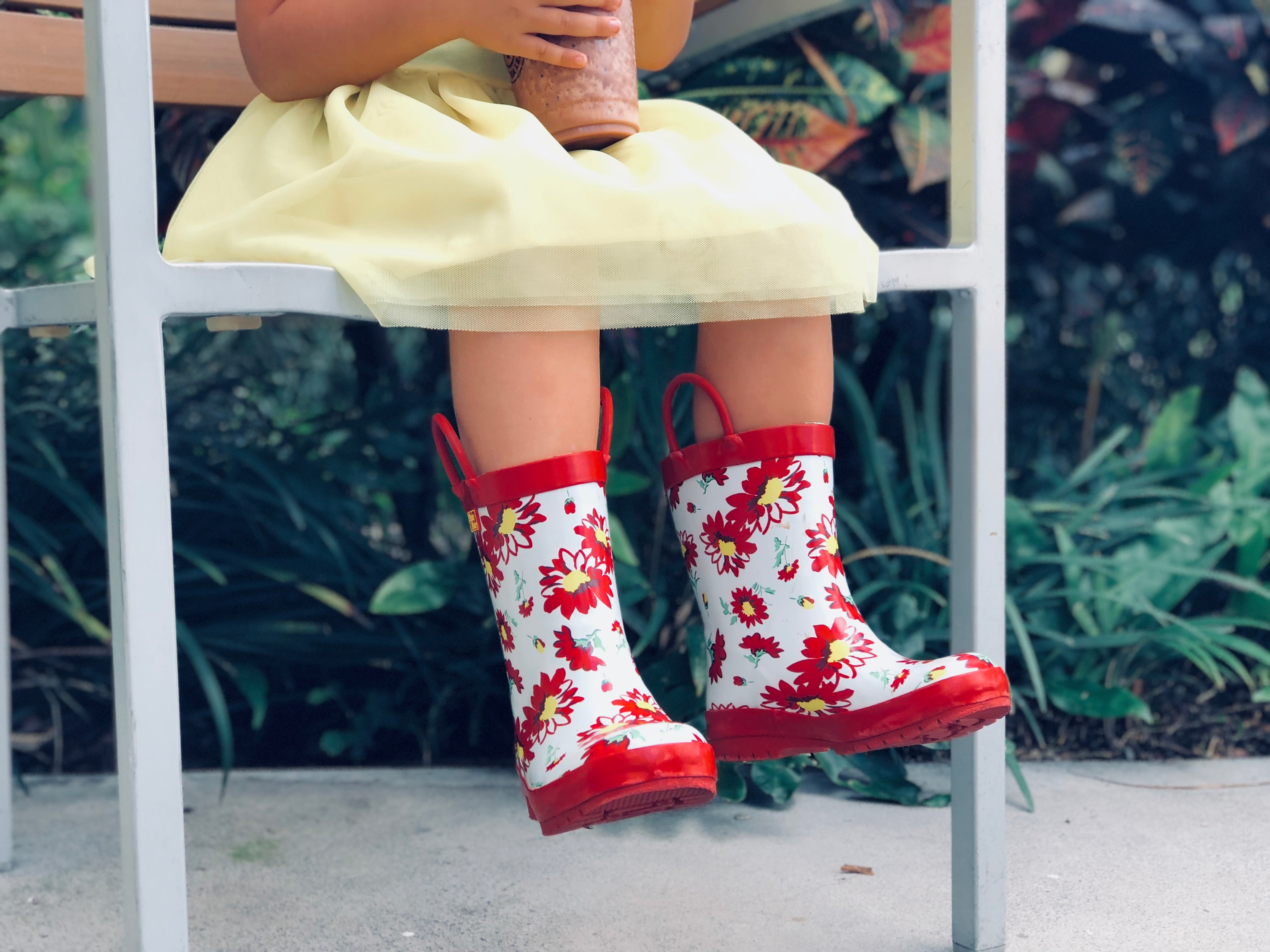 Pluie Pluie Girls Red Flower Rain Boot