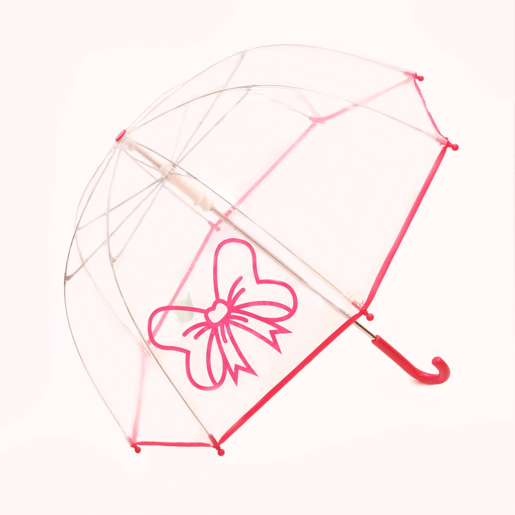 Pluie Pluie Girls Clear Umbrella with Fuchsia Bow