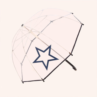 Pluie Pluie Boys Clear Umbrella with Navy Star