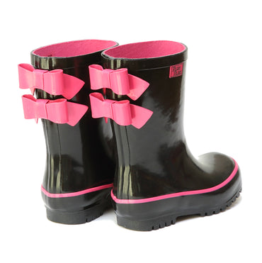 Pluie Pluie Girls Solid Black Double Bow Rain Boot