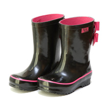 Solid Black Double Bow Rain Boot
