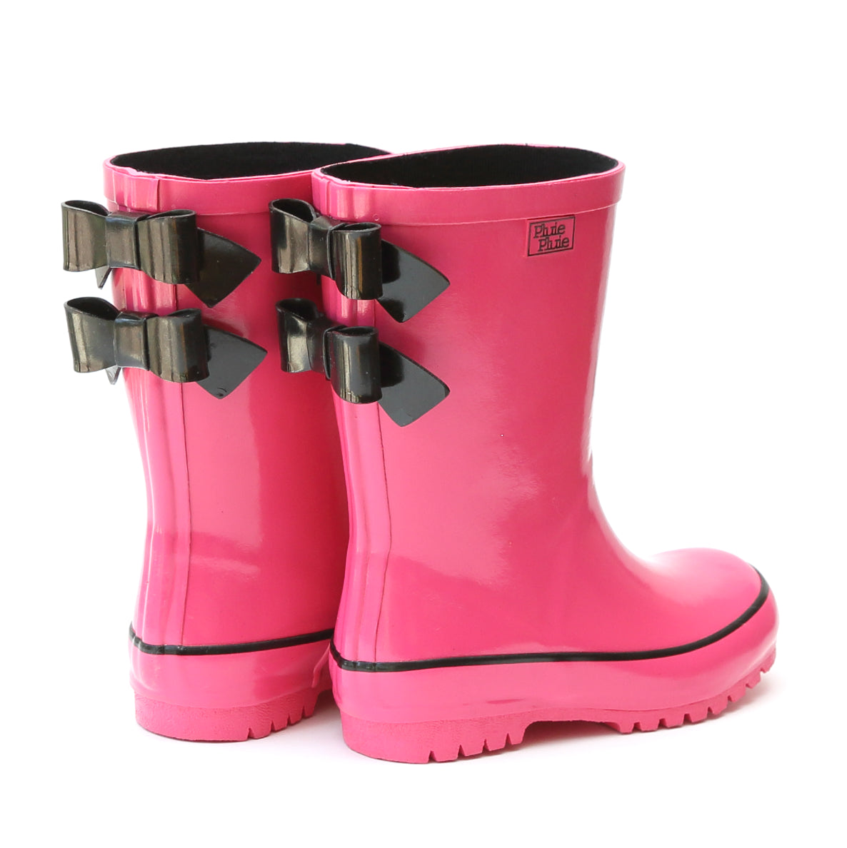 Pluie Pluie Girls Solid Fuchsia Double Bow Rain Boot