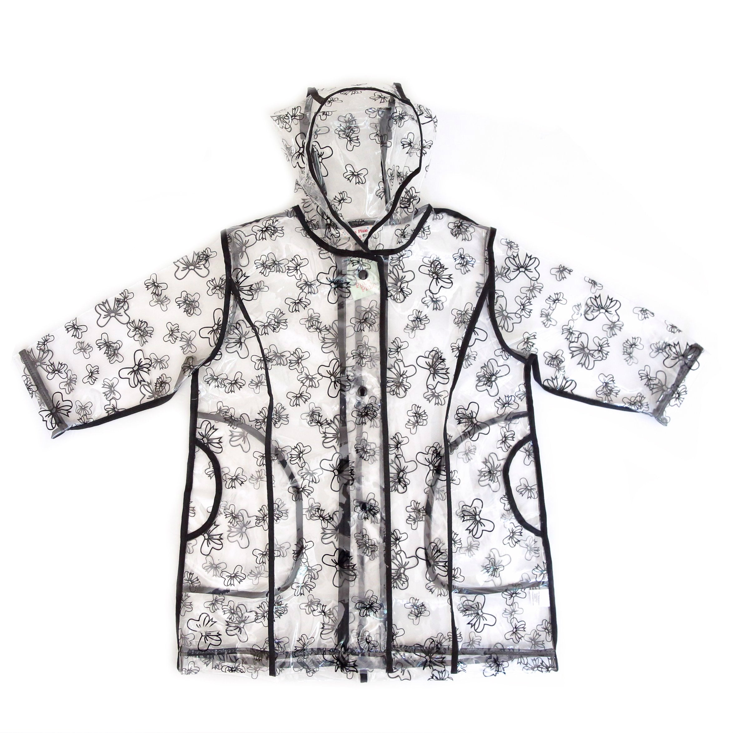 Pluie Pluie Transparent Raincoat with Black Trim and Bow Print