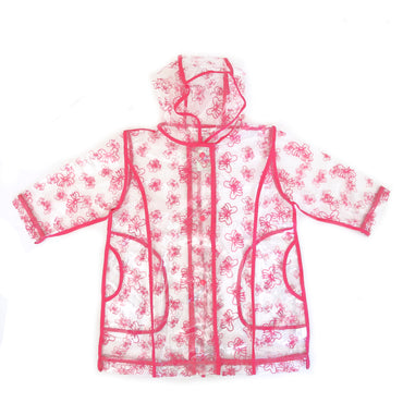 Pluie Pluie Transparent Fuchsia Trim RaincoatTransparent Raincoat with Fuchsia Trim and Bow Print