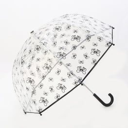 Pluie Pluie Girls Clear Umbrella with Black Bow Print