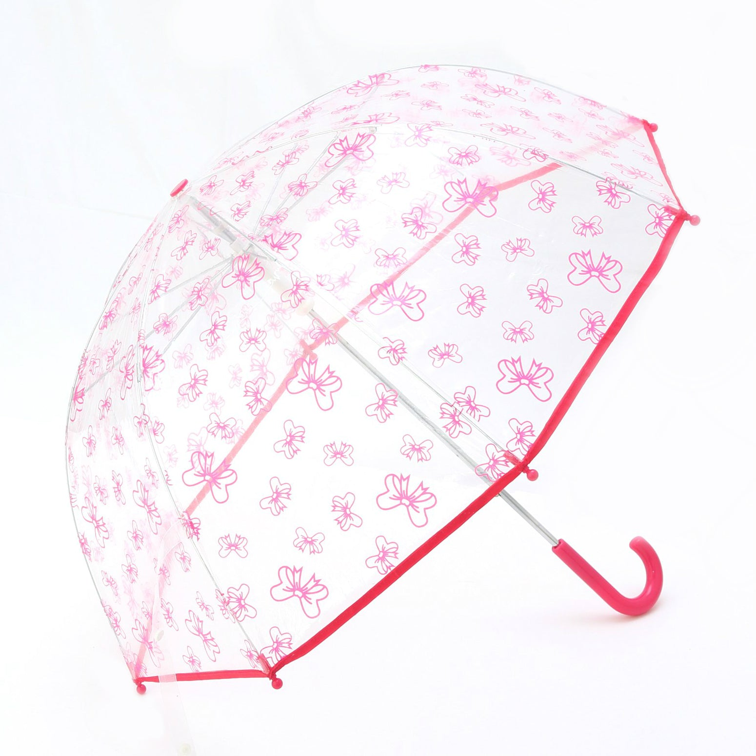 Pluie Pluie Clear Umbrella with Fuchsia Bow Print