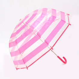 Pluie Pluie Girls Clear Umbrella with Fuchsia Stripes