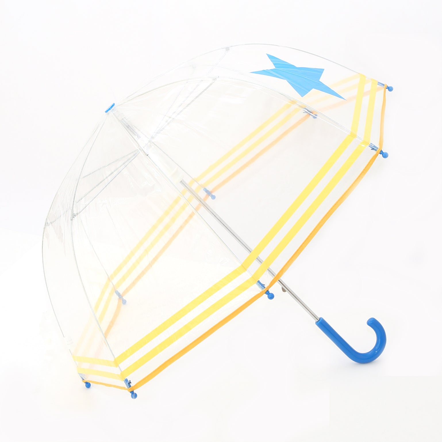 Pluie Pluie Boys Clear Umbrella with Blue Start and Yellow Trim