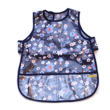Pluie Pluie Girls Navy Flower Waterproof Bib