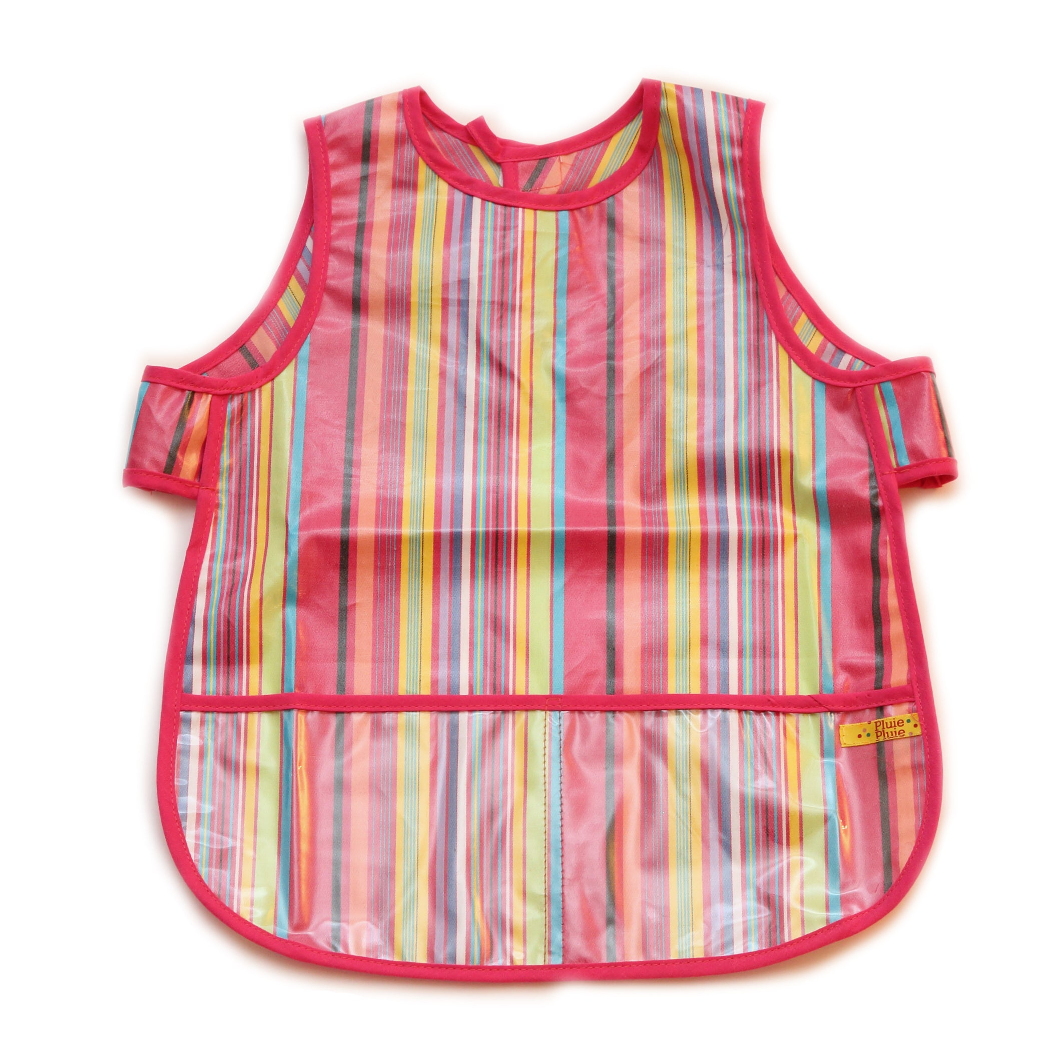 Pluie Pluie Girls Pink Stripe Waterproof Bib