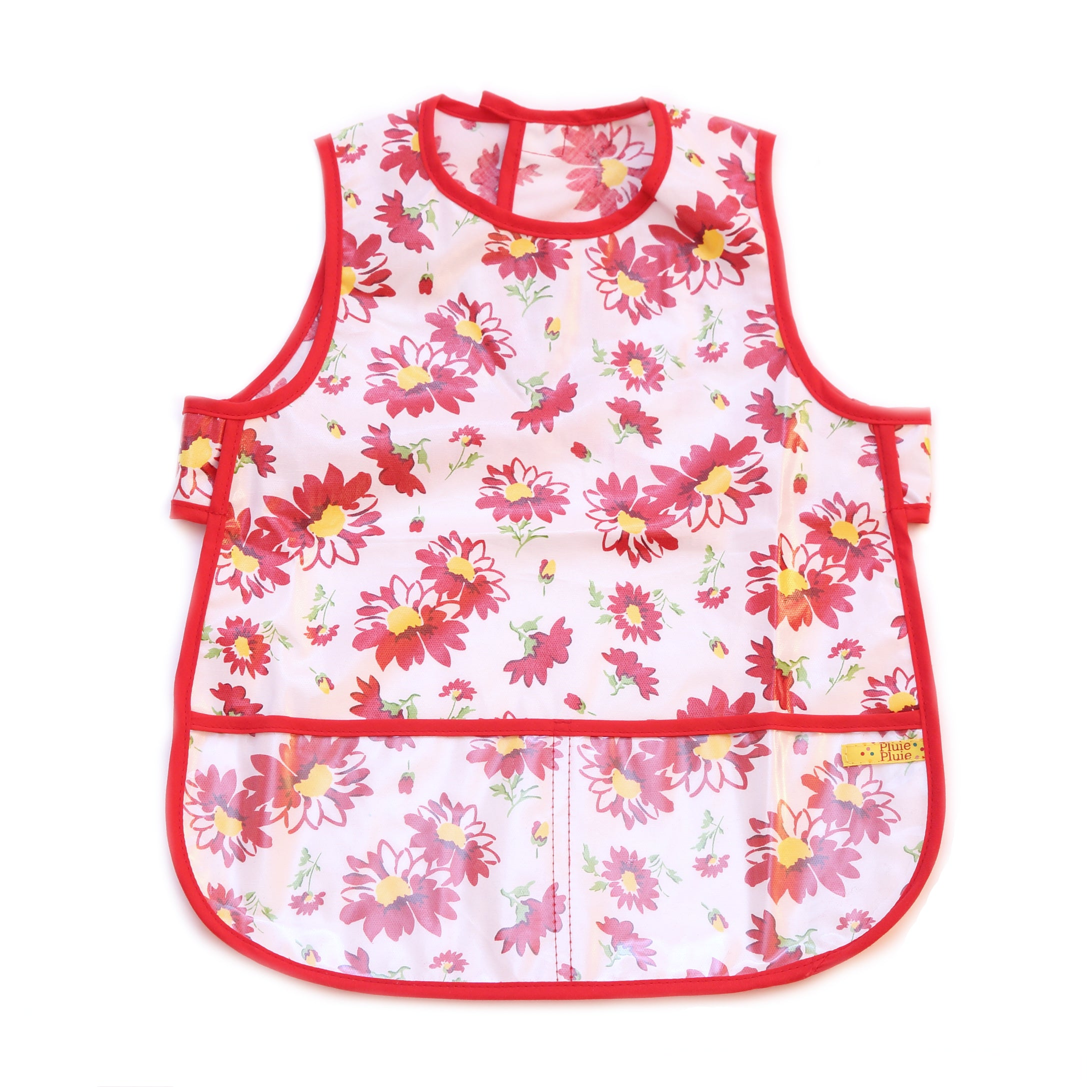 Pluie Pluie Girls Red Flower Waterproof Bib