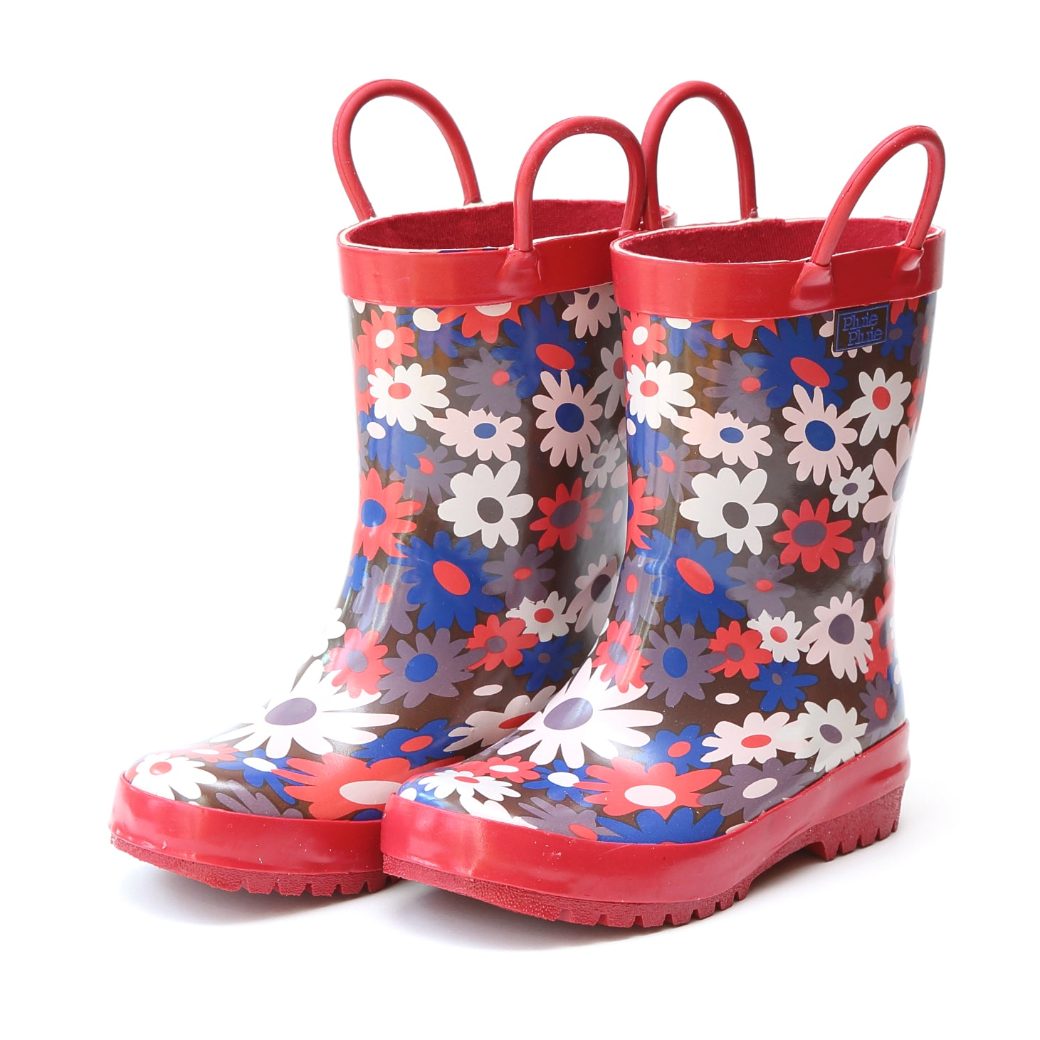 Pluie Pluie Girls Brown Flower Rain Boot