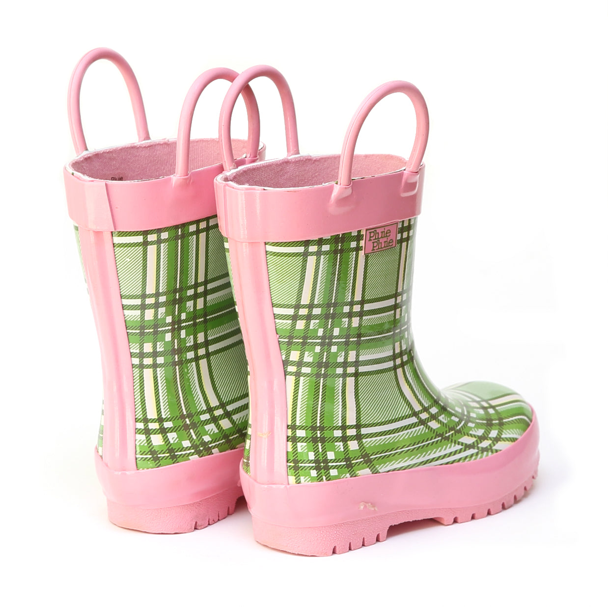 Pluie Pluie Girls Green Plaid Rain Boot