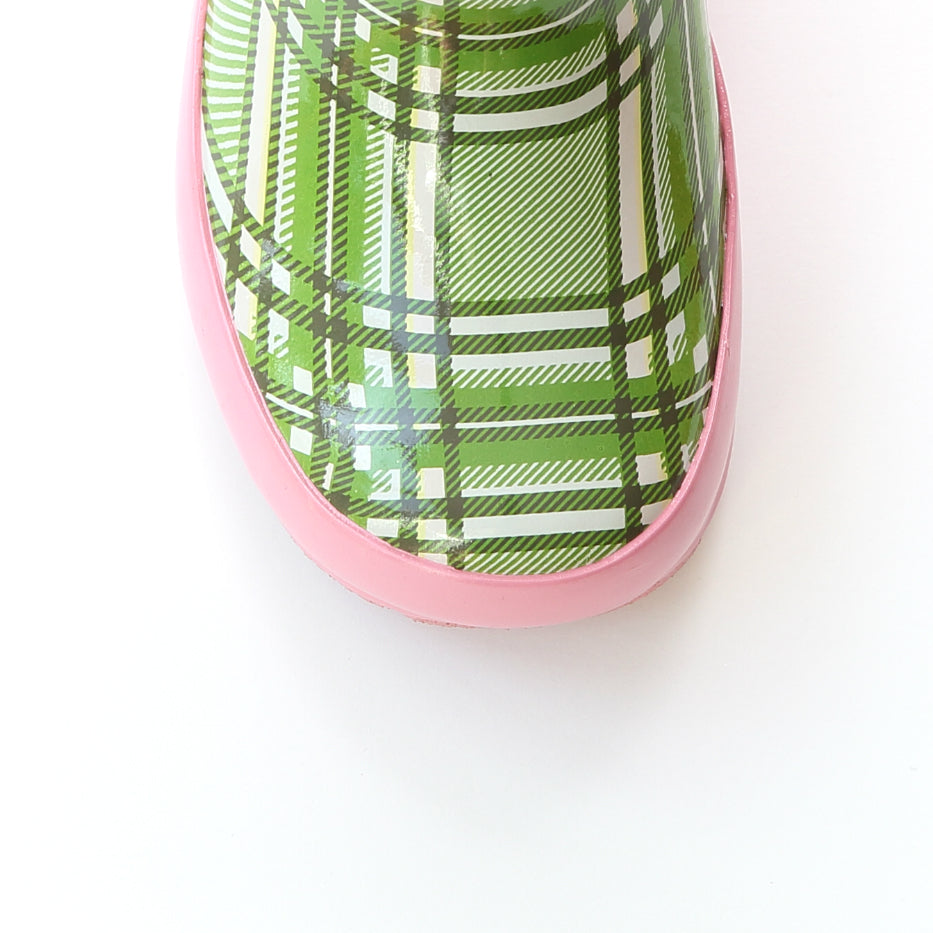 Pluie Pluie Girls Green Plaid Rain Boot Top